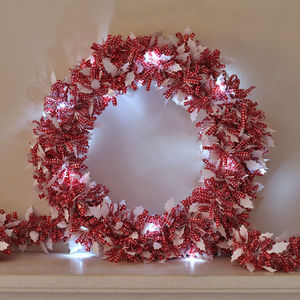 Tinsel Christmas Wreath With LED Lights - weddings sale