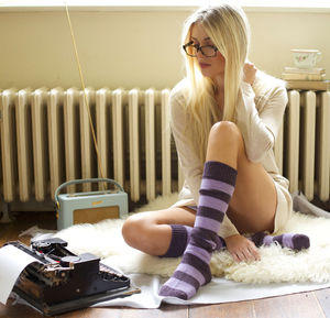 Long Striped Alpaca Bed Socks - socks & tights