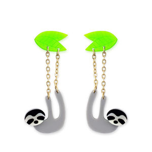 Dangling Baby Sloth Earrings - earrings