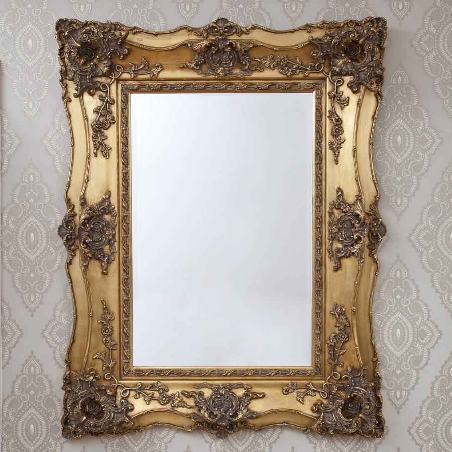 Vintage ornate gold decorative mirror by decorative for Fancy mirror