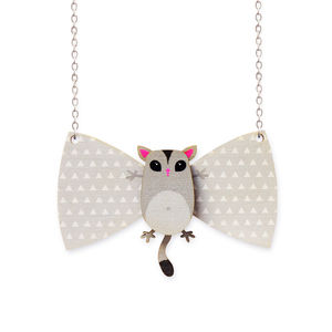 Sugar Glider Wooden Bowtie Necklace - necklaces & pendants