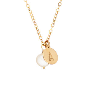 14k Gold Fill Initial Necklace Freshwater Pearl