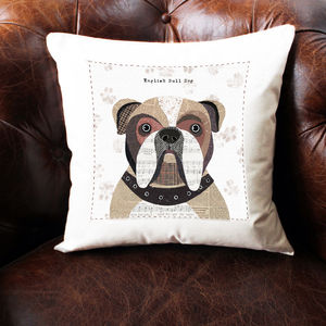 English Bulldog Personalised Dog Cushion Cover - bedroom