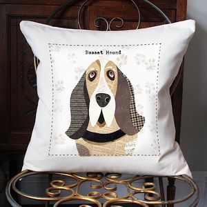 Basset Hound Personalised Dog Cushion Cover