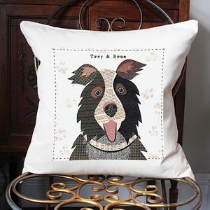 Border Collie Personalised Dog Cushion Cover