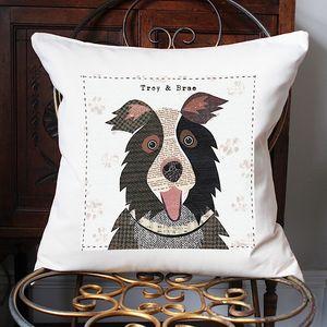 Border Collie Personalised Dog Cushion