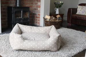 Dotty Rectangle Bolster Dog Bed