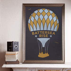 Battersea Rise Gold/Silver A2 Screen Print - architecture & buildings
