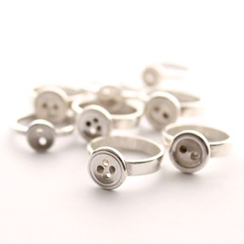 Silver button rings