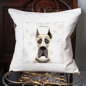 Great Dane Personalised Dog Cushion Cover - bedroom