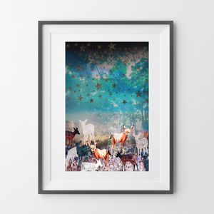 A4 Deer Enchanted Forest Print