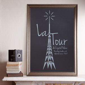 La Tour A2 Black Screen Prints - maps & locations