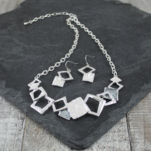 Midnight Sky Squares Necklace And Earring Set