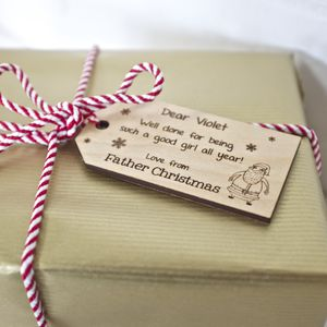Personalised Wooden Christmas Tag - ribbon & wrap