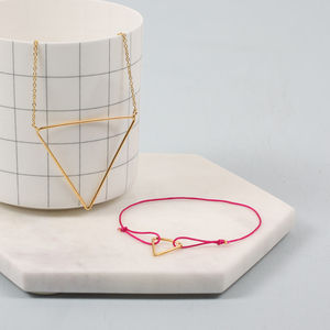 Bracelet And Necklace Gift Set, Pyramid
