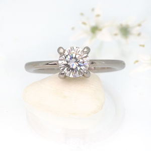 Moissanite Engagement Ring In 18ct White Gold, Size L