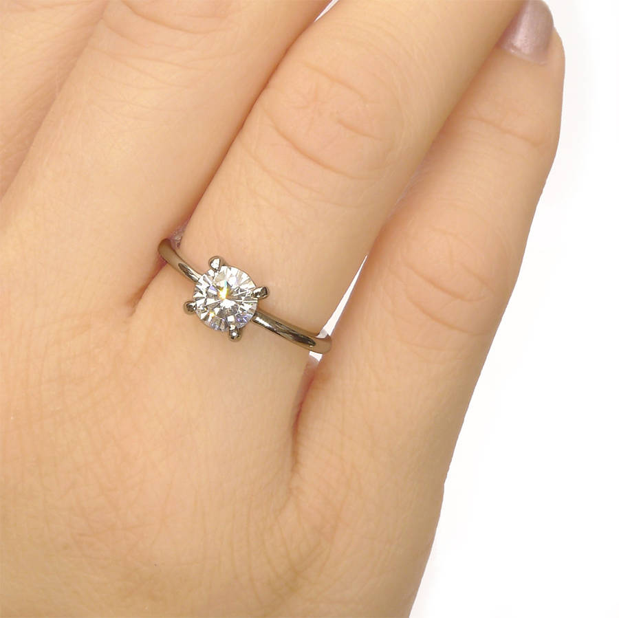 Moissanite Engagement Ring In 18ct White Gold Size L By