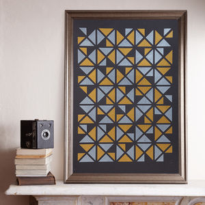 Triangular Gold/Silver A2 Screen Print - posters & prints