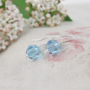 Alice Aquamarine Crystal And Silver Earrings - jewellery sale
