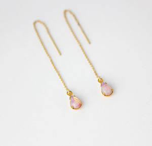 Gold Filled Teardrop Threader Earrings - earrings