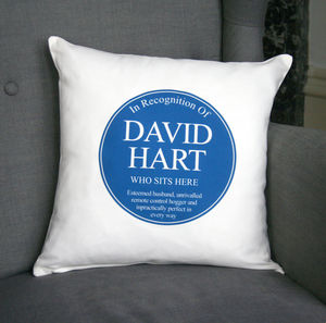 Personalised Blue Plaque Cushion - decorative accessories