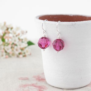 Alice Fuchsia Crystal And Silver Earrings - earrings