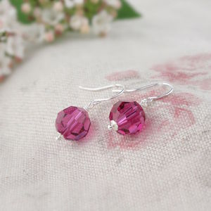Alice Fuchsia Crystal And Silver Earrings - jewellery sale