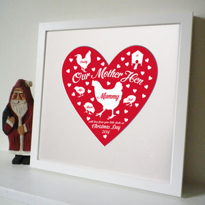 Personalised Christmas Mother Hen Print