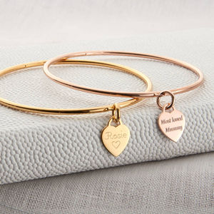 Gold Personalised Heart Or Disc Charm Bangle - stacking bracelets