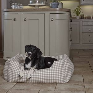 Luxury Taupe Gingham Bolster Dog Bed - dogs