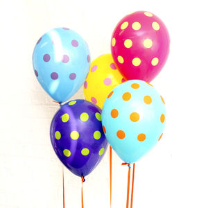Rainbow Polka Dot Balloons - children's parties