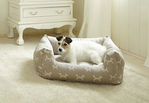 Luxury Stylish Dog Bolster Bed In Taupe - dogs
