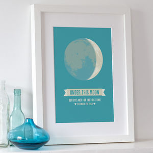 'Under This Moon' Personalised Print - 1st father's day