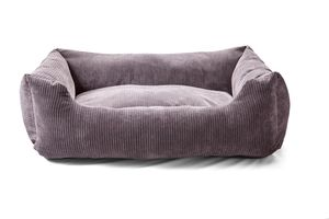Luxury Pewter Corduroy Bolster Dog Bed - beds & sleeping