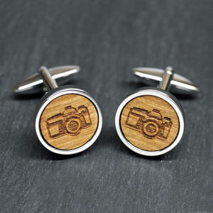 Wooden Camera Cufflinks - gifts for photographers
