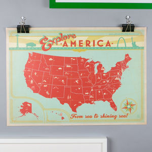 Vintage Map Of The USA Print