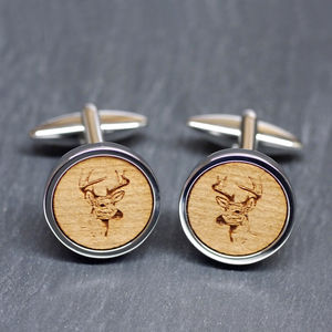 Wooden Stag Head Cufflinks - gifts for pet-lovers