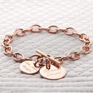 Personalised Rose Or Yellow Gold Charm Chain Bracelet - rose gold jewellery