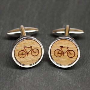 Wooden Bicycle Cufflinks - gifts for cyclists