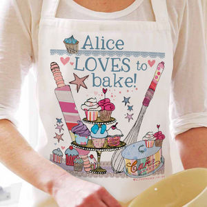 Personalised 'Loves To Bake' Apron - gifts for bakers