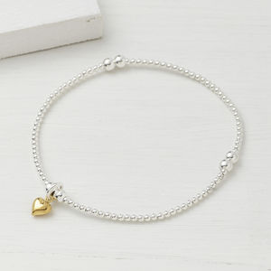 Silver Beaded Tiny Gold Heart Bracelet - styling your day
