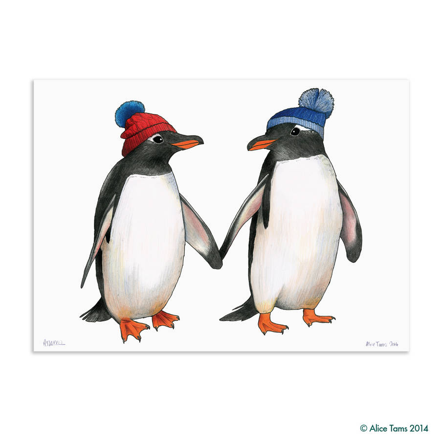 penguin couple in matching bobble hats art print by birds ...