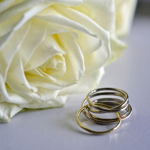 Handmade White And Yellow Gold Cosmic Wedding Ring