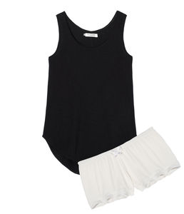 Black Tank Top With Ivory Shorts - lingerie & nightwear