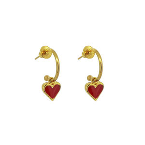 Gold And Enamelled Heart Earrings