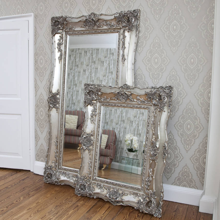 Vintage ornate silver decorative mirror by decorative for Fancy mirror