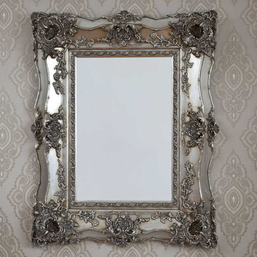Vintage ornate silver decorative mirror by decorative for Espejo vintage plateado