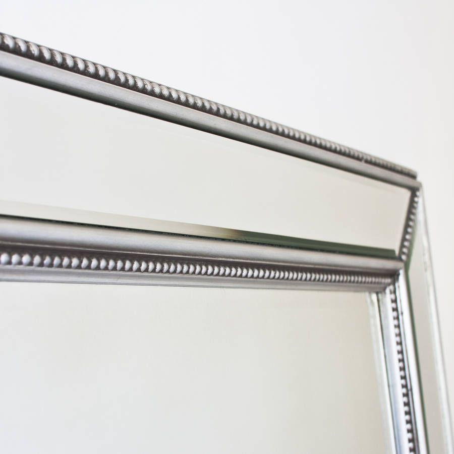 beaded classic silver mirror by decorative mirrors