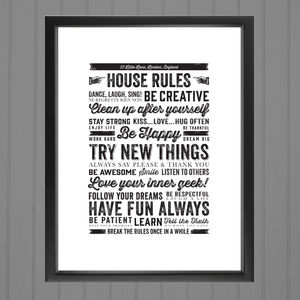 Personalised House Rules Poster Print
