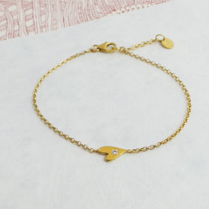Gold White Sapphire Heart Bracelet - women's jewellery